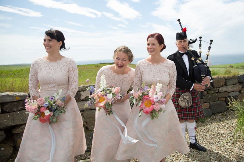 Bridesmaids and Piper at outdoor ceremony at Crear