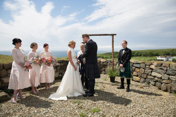 Outdoor wedding at Crear in Scotland