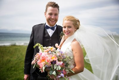 Bride and Groom on beach at Crear in Scotland