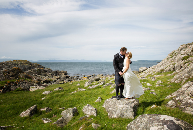 Windy day bride and groom portrait at Crear Wedding