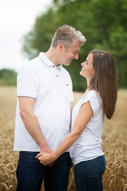 Couple looking at each other in pre wedding shoot near Henley