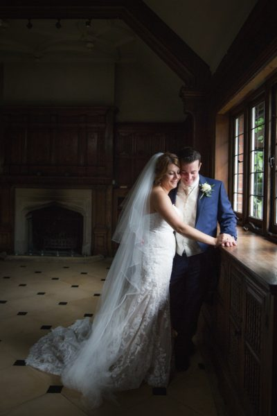 Bride and Groom in Oak Room at Olde Bell Hurley