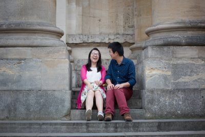 Couple in Oxford on pre wedding shoot