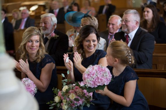 Happy Bridesmaids at All Saints Church in Marlow