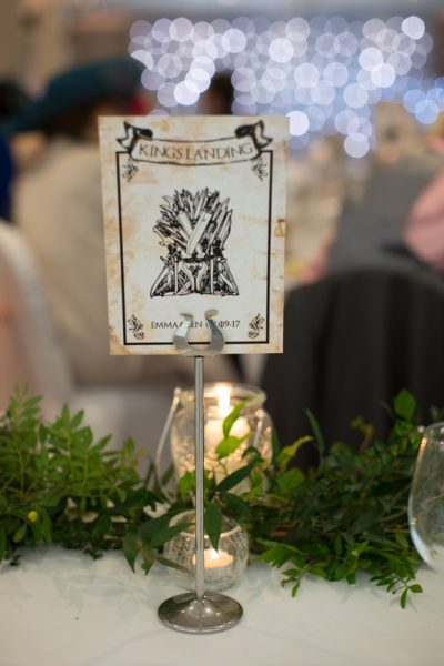 Game of Thrones table detail at Oakley Court Wedding in Berkshire