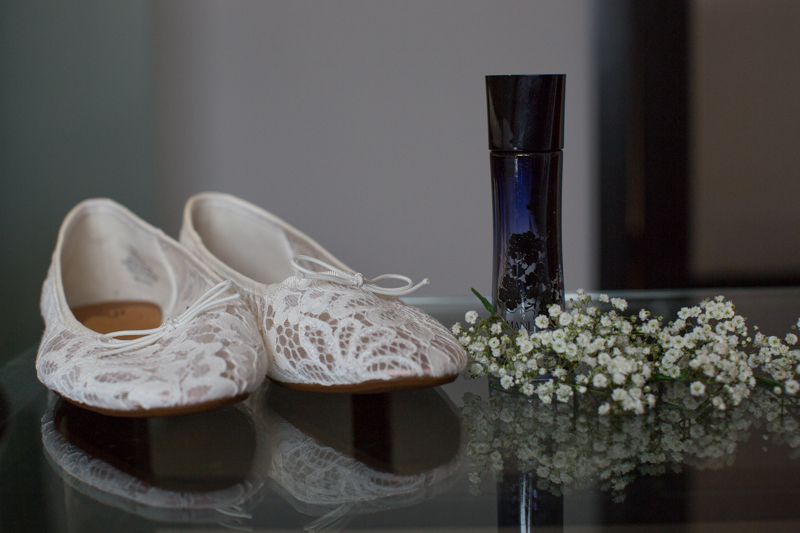 Wedding shoes and perfume details at Hotel du Vin Henley Wedding
