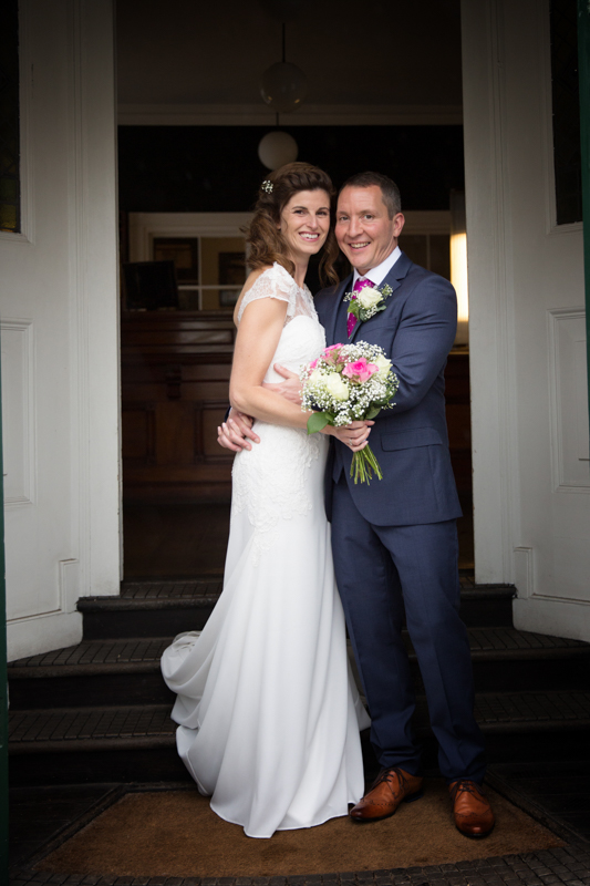 Bride and Groom outside Hotel du Vin in Henley