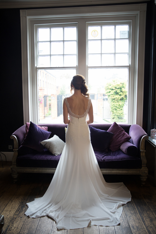 Bridal portrait near window at Hotel du Vin in Henley