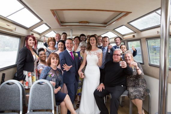 Wedding group shot on boat at Henley