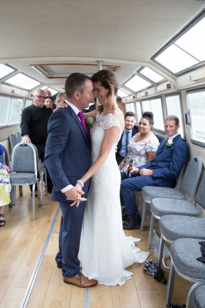 Wedding first dance on board boat on thames near Henley