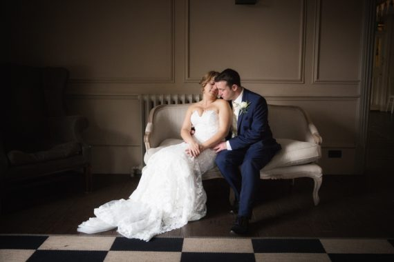 Couple at their wedding in Olde Bell Hotel in Hurley