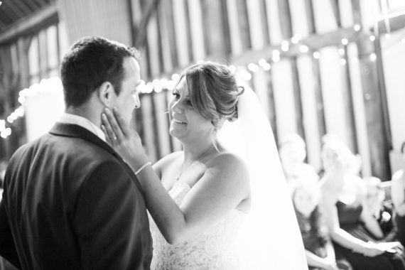 Couple at their wedding ceremony at Olde Bell Hotel in Hurley
