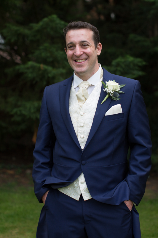 Shot of Groom at his wedding at Olde Bell in Hurley