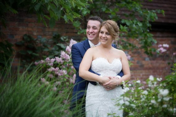 Bride and Groom after their wedding at Olde Bell Hotel in Hurley