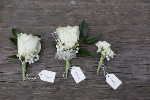 buttonholes at Olde Bell hotel wedding in Hurley