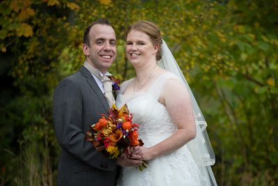 Bride and Groom at Autumn Wedding, Crown Inn, Pishill