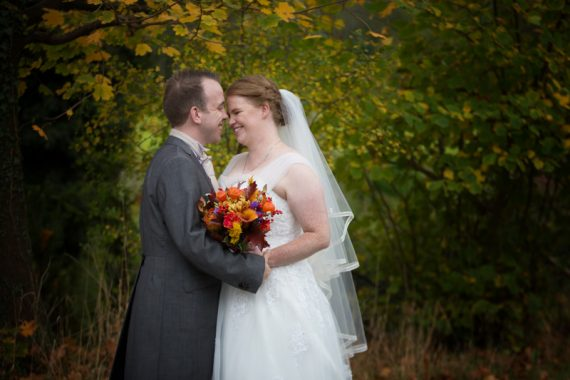Bride and Groom at Autumn wedding at Crown Inn Pishill