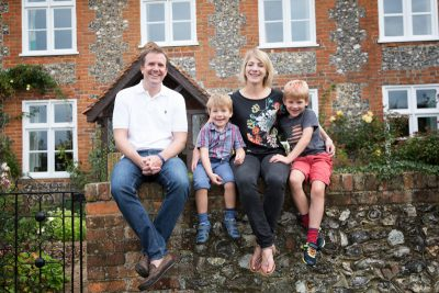 Fun and natural portrait of family near Henley