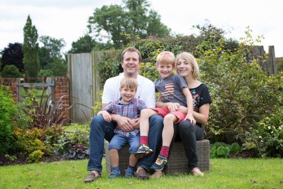 Mum, Dad and two boys in fun family photo shoot near Henley
