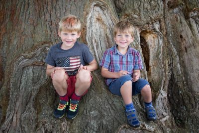 Young boys looking happy in family portrait shoot near Henley