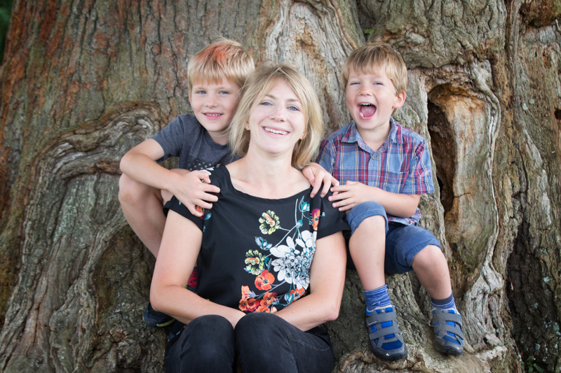Fun, family portrait in family lifestyle session near Henley