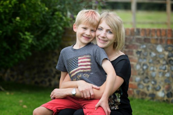 Mum and her son looking happy in family photo shoot near Henley