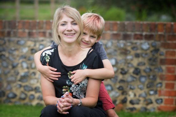 Mum and her son in informal, fun family portrait session near Henley