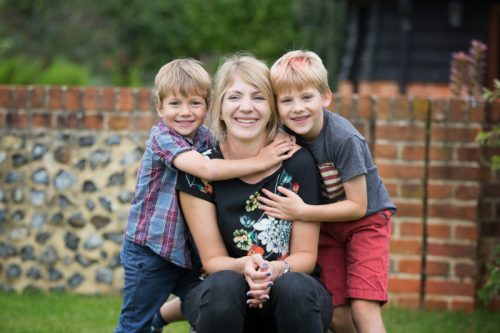 Mum and her two sons having fun in a photo shoot near Henley