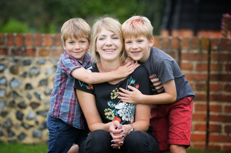 Mum and her two boys having fun in family photo shoot near Henley