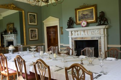 Dining room at Rockley manor set up for an intimate wedding