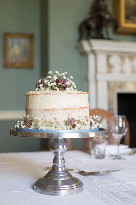 A beautiful naked cake at Rockley Manor in Gloucestershire