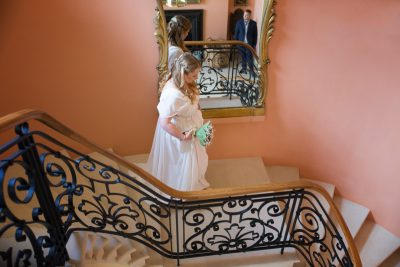 Bride arriving for her wedding at Rockley Manor in Gloucestershire