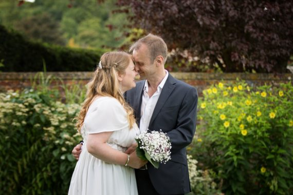 Couple in romantic pose at Rockley manor