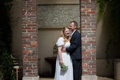 Bride and Groom laughing at their Rockley Manor wedding