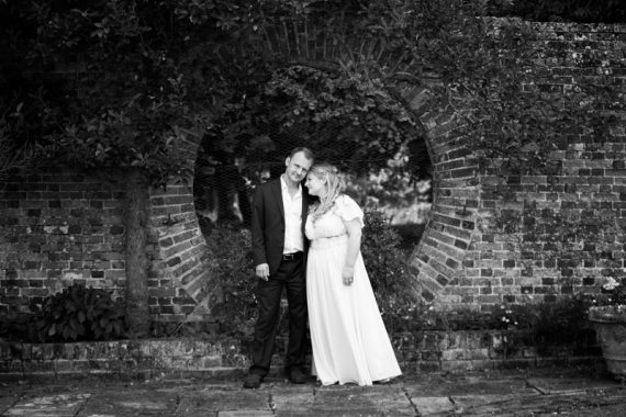 Romantic shot of Bride and Groom at Rockley Manor wedding