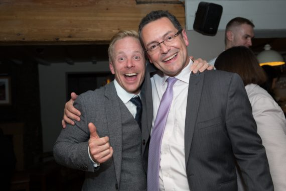 Guests having fun at a wedding at The Cricketers in Warfield