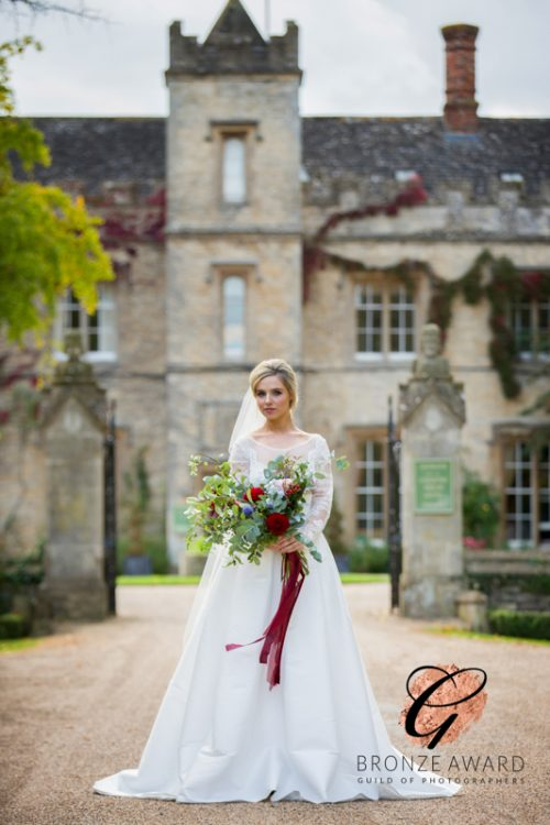 Beautiful bride outside the Weston Manor Hotel