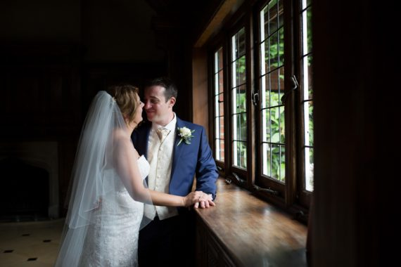 Romantic shot of bride and groom at Olde Bell Hurley