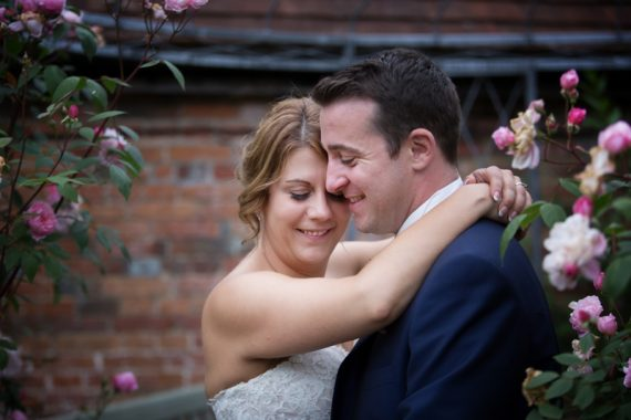 Couple at their wedding at Olde Bell Hotel in Hurley