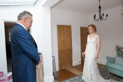 bride with her dad before her wedding