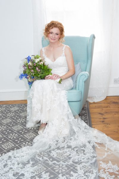 Bridal portrait in her home in Ascot