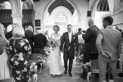 Bride and Groom just married at St Michael's Church in Warfield