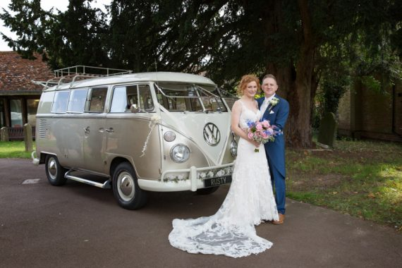 Bride and Groom outside St Michael's Church in Warfield