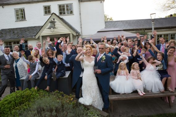 Fun wedding group shot at The Cricketers in Warfield Berkshire