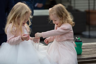 Children playing at a wedding at The Cricketers in Warfield