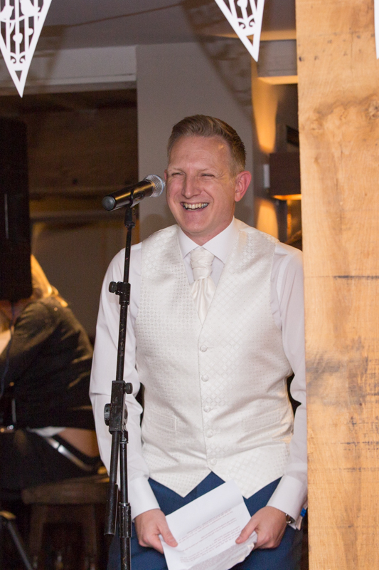 Groom making his wedding speech at Wedding in The Cricketers, Warfield
