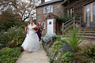 Bride leaving the Cottage at Crown Inn Pishill