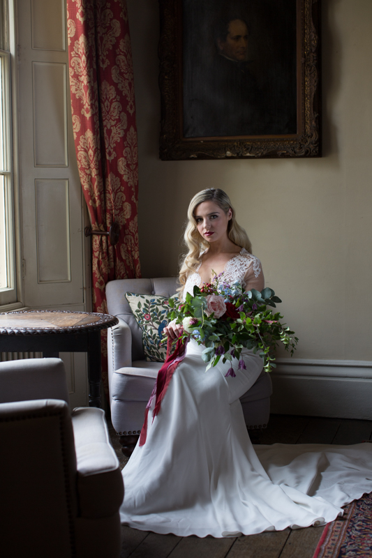 Bride in Suzanne Neville wedding gown at Weston Manor House