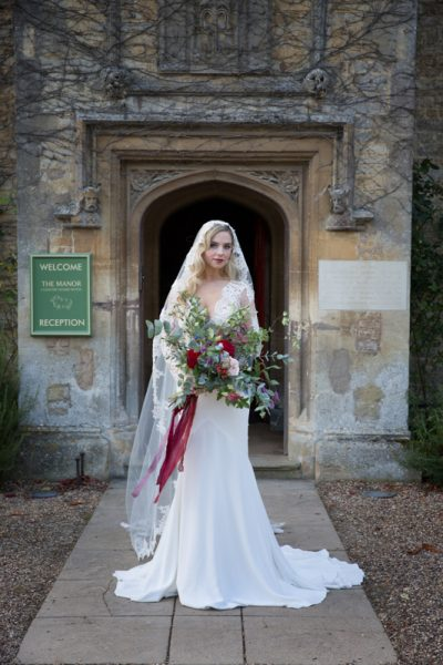 Bride in styled wedding shoot at Weston Manor House Hotel