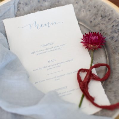 Menu in beautiful calligraphy at Weston Manor House
